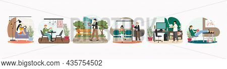 People Reading Books At Home, In City Park, In Public Transport, Vector Illustration. Hobbies And Le