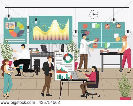 Office People Workflow Process. Presentation. Scrum Kanban Board. Teamwork Agile Project Management,