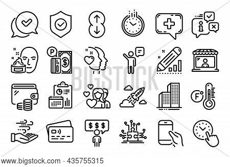 Vector Set Of Parking Payment, Agent And Startup Rocket Line Icons Set. Calendar Report, Money Walle