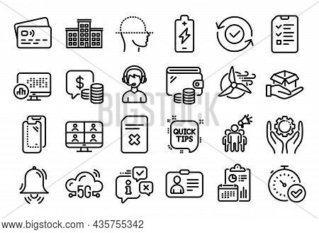 Vector Set Of Id Card, Delete File And Consultant Line Icons Set. Calendar Report, Money Wallet And