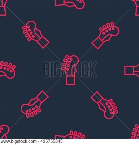 Red Line Guitar Neck Icon Isolated Seamless Pattern On Black Background. Acoustic Guitar. String Mus