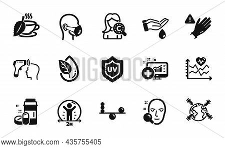 Vector Set Of Cardio Training, Organic Product And Collagen Skin Icons Simple Set. Medical Drugs, Us