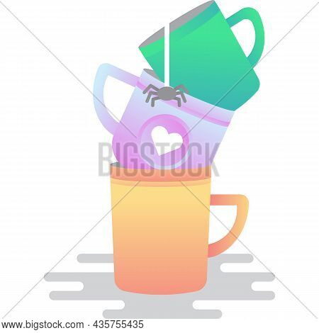 Dirty Cup Stack Icon Used Dish Vector On White