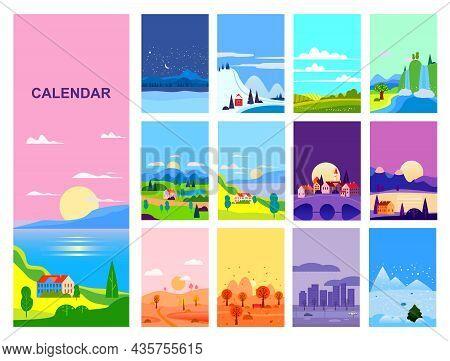 Calendar Landscape Natural Backgrounds Of Four Seasons. Set 12 Minimalistic Cartoon Flat Design Seas