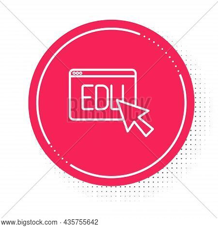 White Line Online Education And Graduation Icon Isolated On White Background. Online Teacher On Moni
