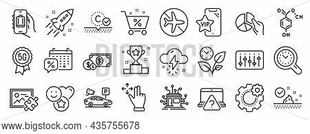Set Of Business Icons, Such As Parking Security, Skin Care, Thunderstorm Weather Icons. Pie Chart, S