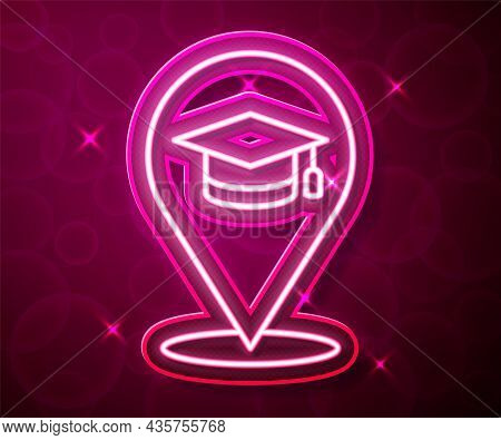 Glowing Neon Line Online Education And Graduation Icon Isolated On Red Background. Online Teacher On