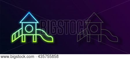 Glowing Neon Line Slide Playground Icon Isolated On Black Background. Childrens Slide. Vector