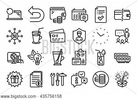 Vector Set Of Payment Methods, Online Shopping And Approved Checklist Line Icons Set. Calendar Repor