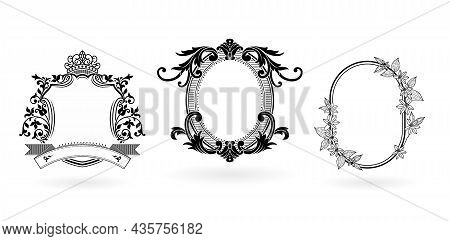 Three Set Of Frame And Border. Ellipse, Shield And Oval Model Elements With Monochrome Color Isolate