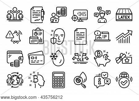 Vector Set Of Bitcoin Coin, Bitcoin Think And Seo Line Icons Set. Calendar Report, Money Wallet And