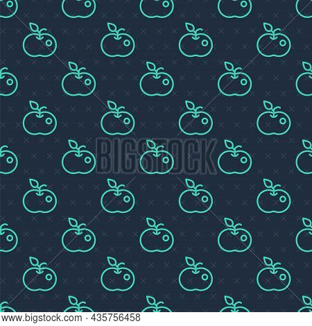 Green Line Poison Apple Icon Isolated Seamless Pattern On Blue Background. Poisoned Witch Apple. Vec