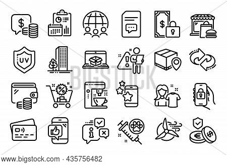 Vector Set Of Refresh, Search Employee And Private Payment Line Icons Set. Calendar Report, Money Wa