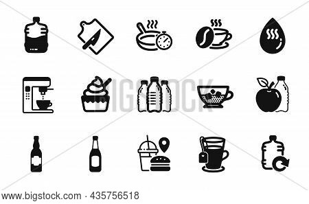 Vector Set Of Cold Coffee, Cutting Board And Refill Water Icons Simple Set. Cooler Bottle, Coffee Ma