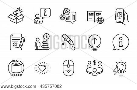 Business Icons Set. Included Icon As Electricity Bulb, Reject File, Swipe Up Signs. Meeting, Scroll