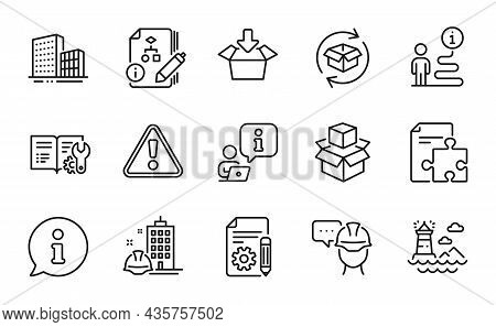 Industrial Icons Set. Included Icon As Construction Building, Foreman, Packing Boxes Signs. Engineer
