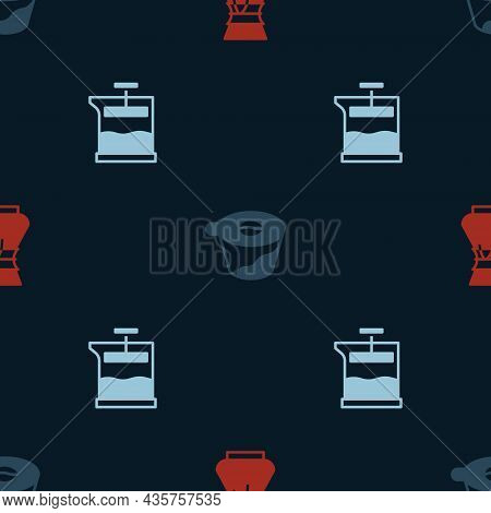 Set Pour Over Coffee Maker, And French Press On Seamless Pattern. Vector