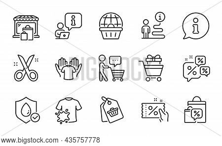 Fashion Icons Set. Included Icon As Online Shopping, Discounts Chat, Waterproof Signs. Shopping Trol