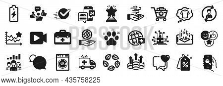 Set Of Business Icons, Such As Discount Tags, World Medicine, Heart Icons. First Aid, Human Resource