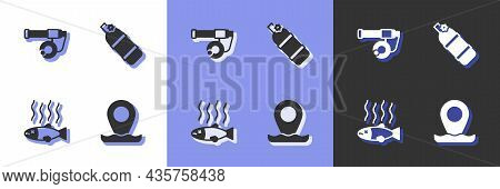 Set Location Fishing, Fishing Rod, Dead And Aqualung Icon. Vector