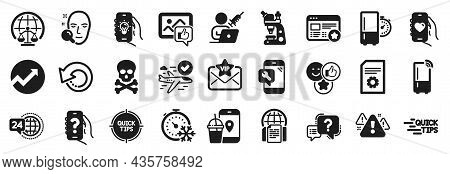 Set Of Technology Icons, Such As Help App, File Settings, 24h Service Icons. Dating App, Microscope,