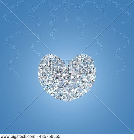 Crystal Heart. The Symbol Of Lovers In Silver Color. Bubble Ornament. Decorations From Glowing Rain