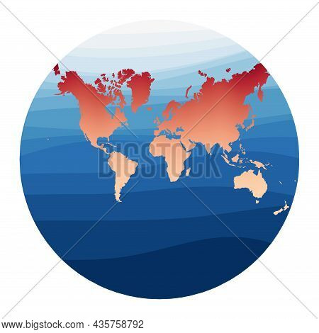 World Map Vector. Lagrange Conformal Projection. World In Red Orange Gradient On Deep Blue Ocean Wav
