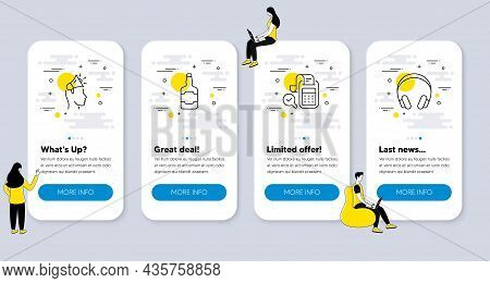 Set Of Line Icons, Such As Whiskey Bottle, Bill Accounting, Brand Ambassador Icons. Ui Phone App Scr
