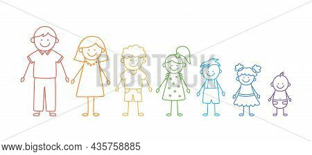 Happy Doodle Stick Mans Family. Set Of Hand Drawn Figure Of Family In Colors Of Rainbow. Mother, Fat