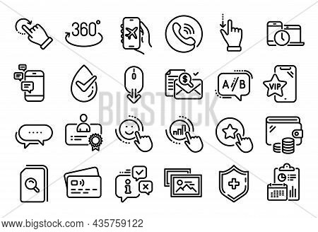 Vector Set Of Loyalty Star, Time Management And Dots Message Line Icons Set. Calendar Report, Money