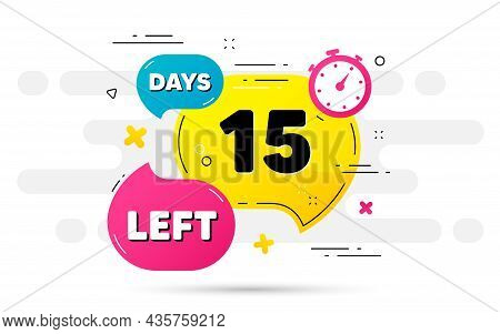 Fifteen Days Left Icon. Countdown Number On Abstract Flow Pattern. 15 Days To Go Sign. Count Offer D
