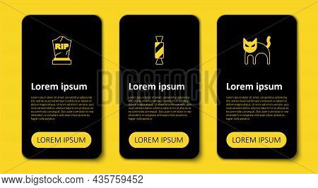 Set Black Cat, Candy And Tombstone With Rip Written. Business Infographic Template. Vector
