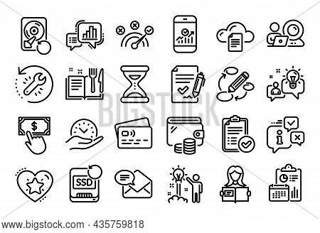 Vector Set Of Keywords, File Storage And Video Conference Line Icons Set. Calendar Report, Money Wal