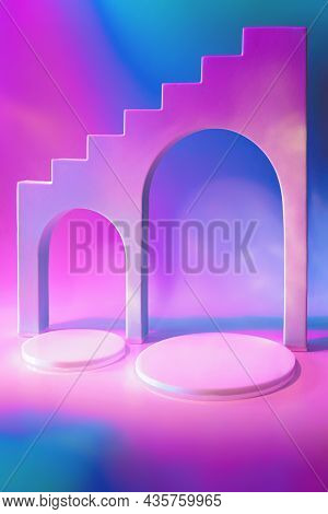 Abstract Surreal Scene - Empty Stage With Circle Podiums And Arches On Holographic Neon Colored Back