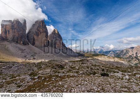 North Rock Face Of Three Peaks Of Lavaredo (tre Cime Di Lavaredo Or Drei Zinnen), Sesto Dolomites (d