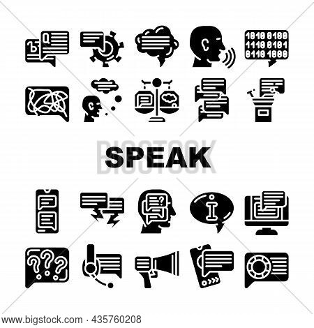 Speak Conversation And Discussion Icons Set Vector. Online Support Advice And Chatting, Speech From