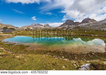 Small Lake And Sesto Or Sexten Dolomites From Tre Cime Di Lavaredo Or Drei Zinnen, Dolomiti Di Sesto