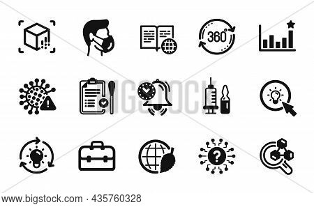 Vector Set Of Question Mark, Nasal Test And Chemistry Lab Icons Simple Set. Medical Mask, Covid Viru