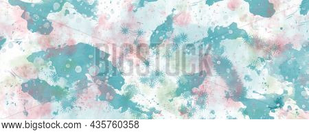 Delicate Light Abstract Background With Turquoise And Pink Watercolor Spots, Streaks And Splashes. F