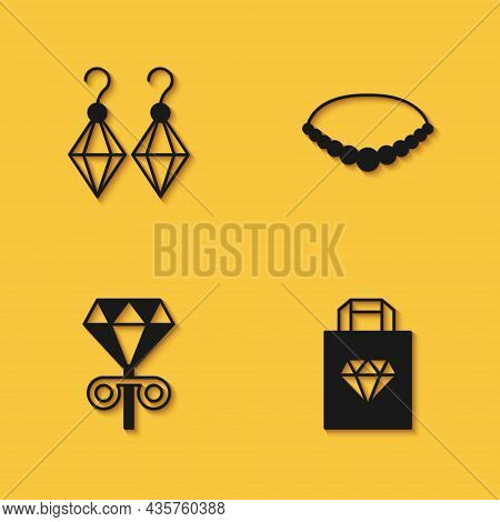Set Earrings, Shopping Bag Jewelry, Stud Earrings And Pearl Necklace Icon With Long Shadow. Vector