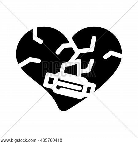 Heart Treatment After Divorce Glyph Icon Vector. Heart Treatment After Divorce Sign. Isolated Contou