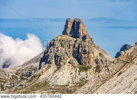 Sesto Dolomites Near Tre Cime Di Lavaredo. Mountain Peaks Of Torre Di Toblin Or Toblinger Knoten And