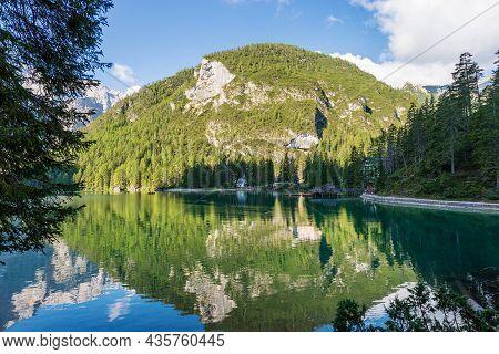 Pragser Wildsee Or Lago Di Braies (lake Braies), And Mountain Peak Of Croda Del Becco Or Seekofel, D