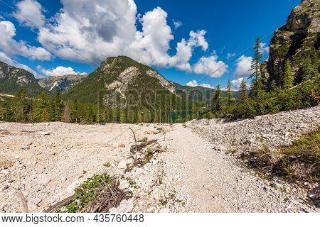 Small Beautiful Lake In Italian Alps. Pragser Wildsee Or Lago Di Braies From The Mountain Range Of C
