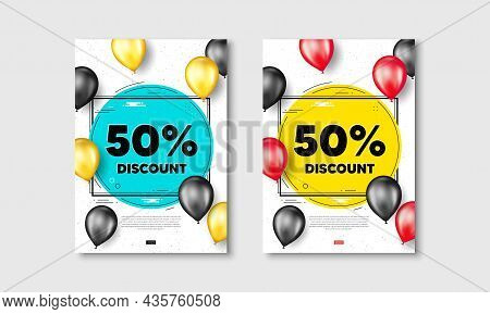 50 Percent Discount. Flyer Posters With Realistic Balloons Cover. Sale Offer Price Sign. Special Off