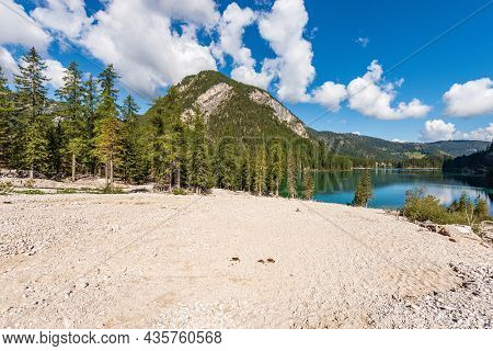 Pragser Wildsee Or Lago Di Braies. Small Beautiful Lake In Italian Alps And Pine Woodland. Dolomites
