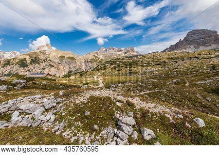 Panorama Of The Sesto Or Sexten Dolomites From Tre Cime Di Lavaredo Or Drei Zinnen, Dolomiti Di Sest