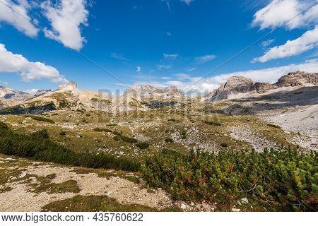 Panorama Of Sesto Or Sexten Dolomites From Tre Cime Di Lavaredo Or Drei Zinnen, Dolomiti Di Sesto Na