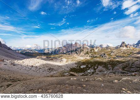 Panorama From Tre Cime Di Lavaredo (three Peaks Of Lavaredo). Sesto Or Sexten Dolomites, Unesco Worl