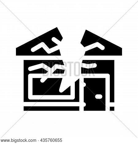 Crashed House Glyph Icon Vector. Crashed House Sign. Isolated Contour Symbol Black Illustration